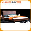New Designs Simple Style Latest Double Bed In Solid Wood