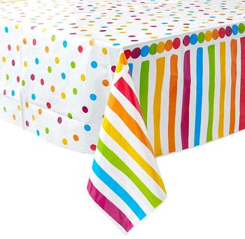 Rainbow Polka Dot Plastic Disposable Oilproof Tablecloth, 7ft x 4.5ft