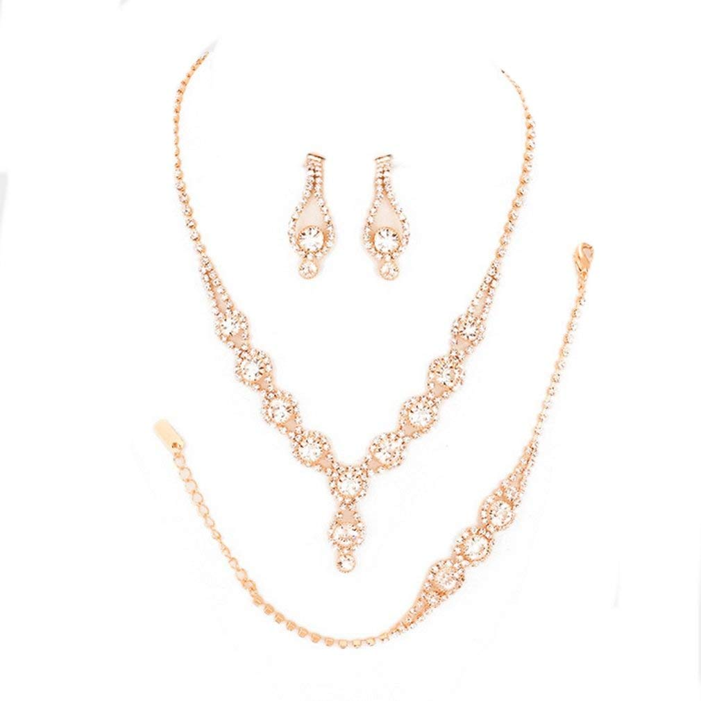 1a07c5deffe54c Get Quotations · Christina Collection Affordable Wedding Jewelry Clear  Bubble Rhinestone Pave Elegant Drop Set 3 Pcs Bracelet Earrings