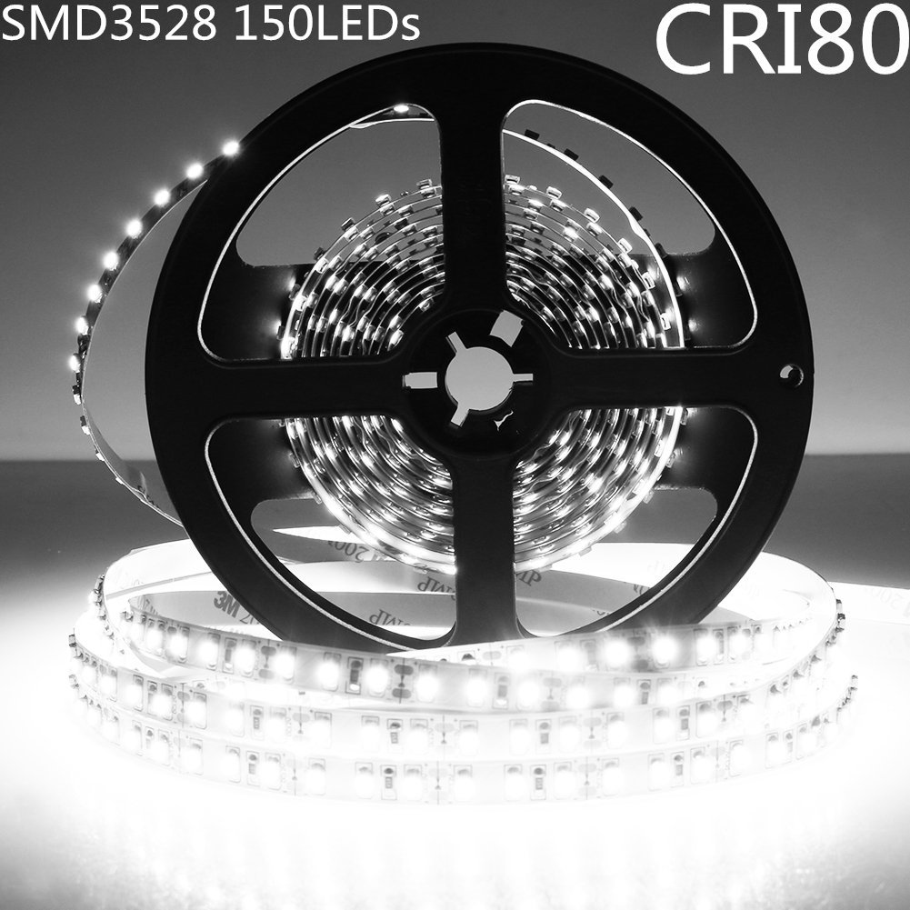 LightingWill LED Strip Light Kit CRI80 SMD3528 16.4Ft(5M) 150LEDs Pure White 5000K-6000K 30LEDs/M DC12V 12W 2.4W/M 8mm White PCB Flexible Ribbon Strip with Adhesive Tape Non-Waterproof M3528PW150N