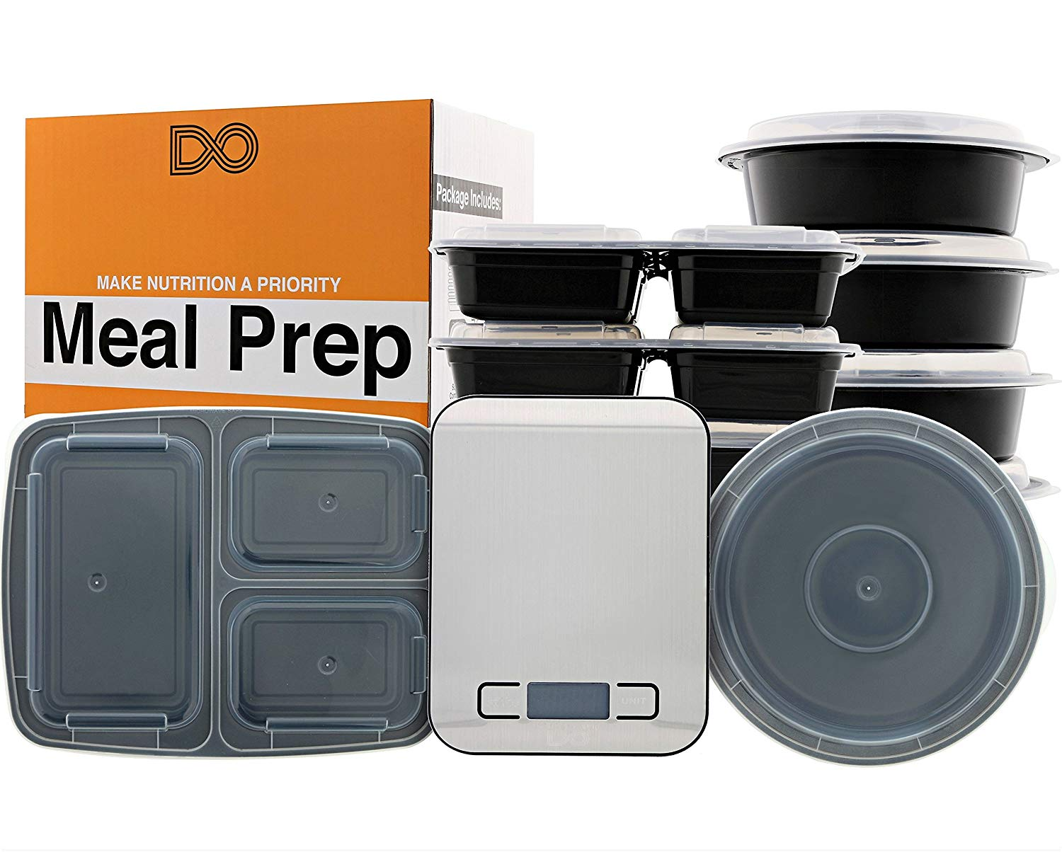 Meal Prep Set - [BUNDLE] - Meal Prep Containers and Food Scale - Package Includes: (7) - 3 Compartment Meal Prep Containers, (7) - Meal Prep Bowls, (1) - Kitchen Scale