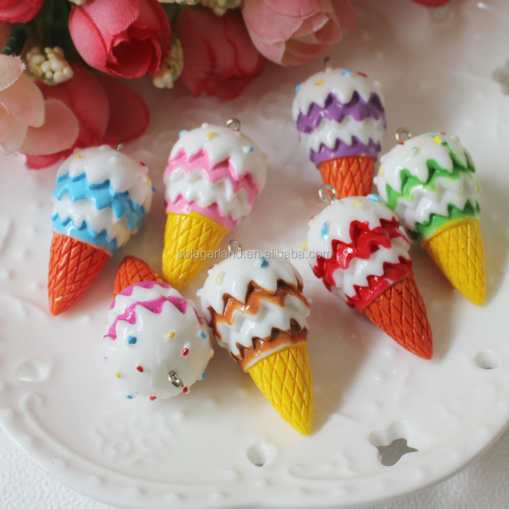 Kawaii Resin Ice Cream Cone Charm Pendant 21x35mm With Colored