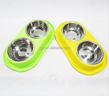 (High) 저 (Quality 두 번 Stainless Steel Pet Bowl 동물 Bowl Set