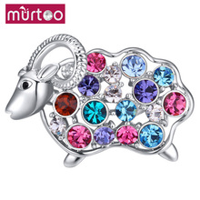 Rhodium Plated Crystal Goat Sheep Lamb Brooch Pin