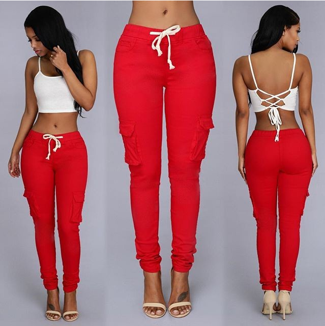 High Elastic Pencil Pants Women Casual Skinny Long Pant female Waist Drawstring Fashion Trousers