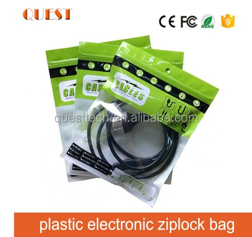 Three side reclosable ziplock plastic usb date packaging bag/plastic electronic ziplock bag