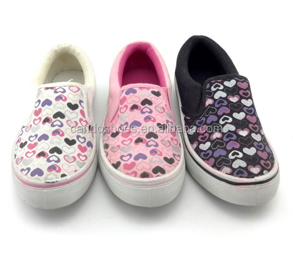$ 1 dollar wholesale kids white canvas shoes blowing kiss printed shoes