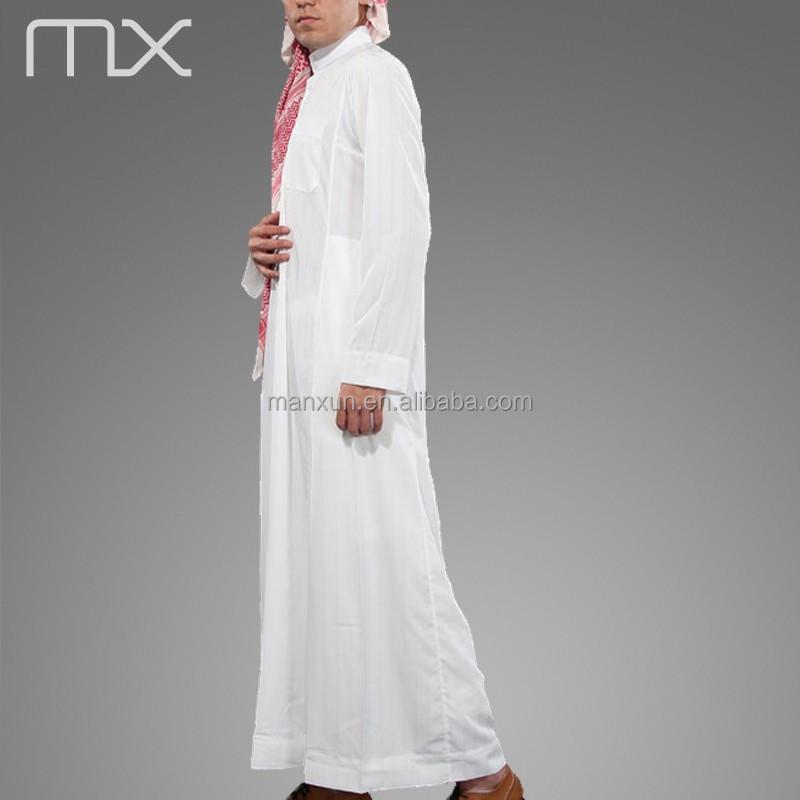 2015 hoge hals moslim jubba witte arabi thobe gewaad for Islamitische sportkleding vrouwen