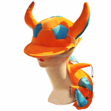 MCH-1237 Funny Velvet orange blue football match fans horns cap with bells