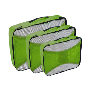 Custom Transparent Mesh Fashion 3 Pcs Packing Cubes for Outdoor Travel