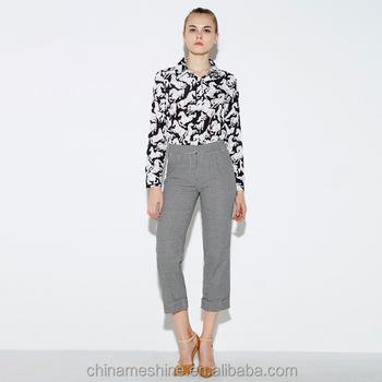 36b1d274 Ms71928l 2016 Último Estilo Mujeres Alta Cintura Oficina Desgaste  Pantalones Moda Pantalones De Tres Cuartos - Buy Tres Pantalones,Moda Tres  ...