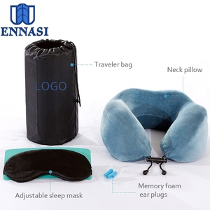 Customized Foldable Memory Foam Travel Kit Eye Mask Neck Pillow with Ear Plugs Sleep Eye Mask for Travel Rest