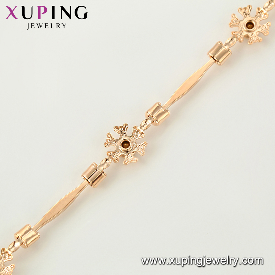75321 Xuping latest product flower shape18k gold plated bracelet charms for women