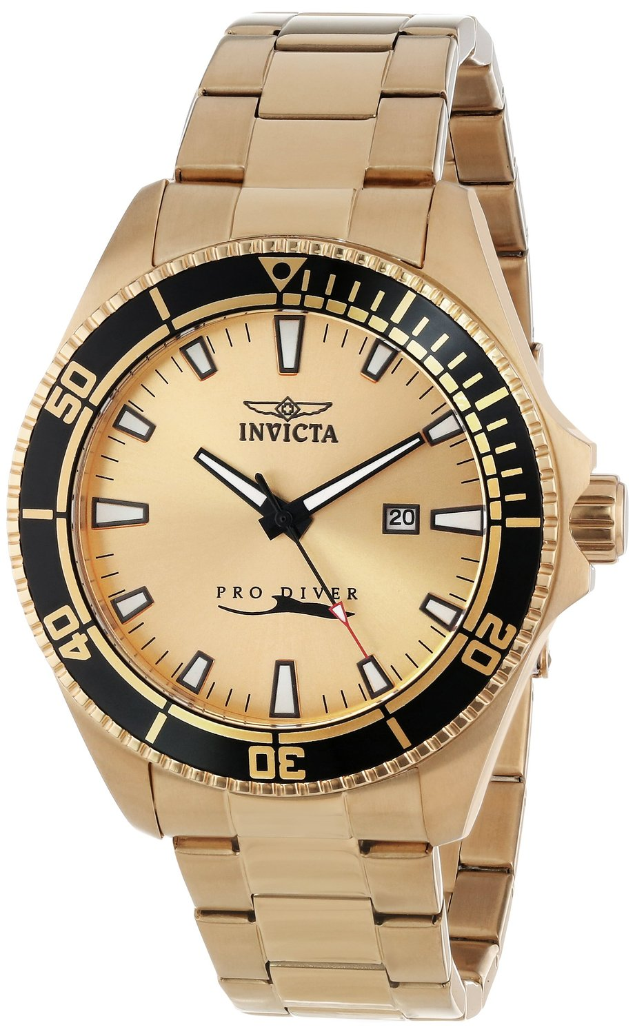 Invicta Men's 15186SYB Pro Diver 18k Yellow Gold Ion-Plated Stainless Steel Watch with Impact Case