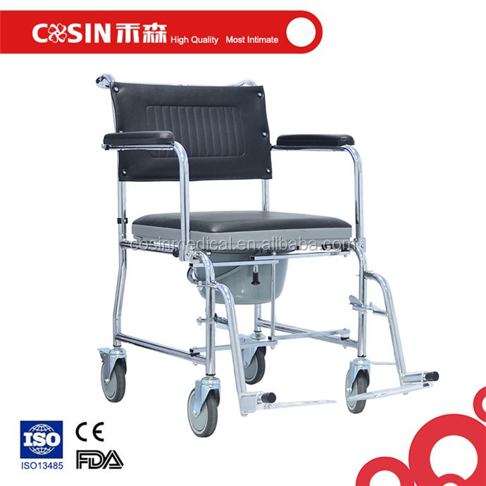 Health hospital folding steel commode chair with wheels and bedpan C04808ZWG