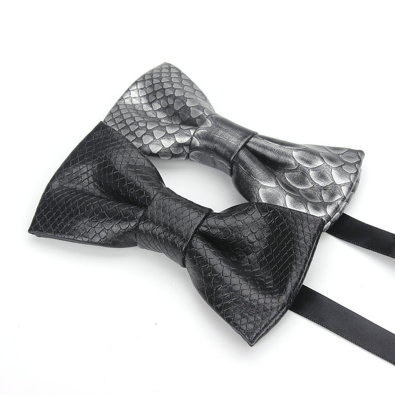 Factory high quality handmade mens bow tie crocodile pu leather bowtie