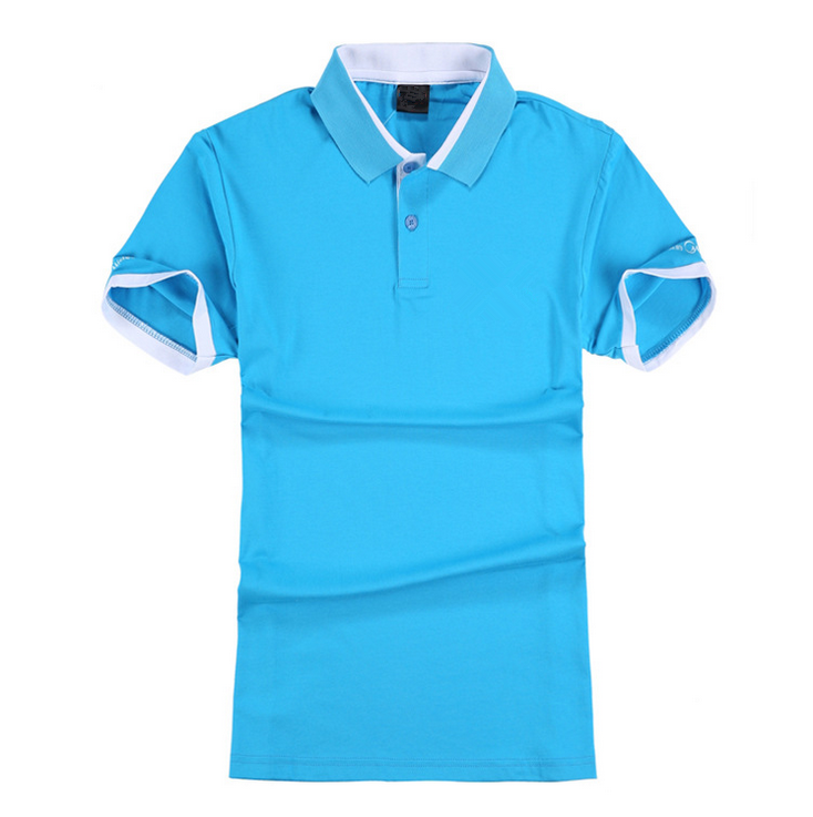 2017 trending products custom 100% cotton mens sky blue polo shirts with short sleeve