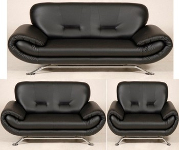 NENA 3 SEATER AND 2 SEATER AND 1 CHAIR SOFA BLACK FAUX LEATHER & Nena 3 Seater And 2 Seater And 1 Chair Sofa Black Faux Leather - Buy ...