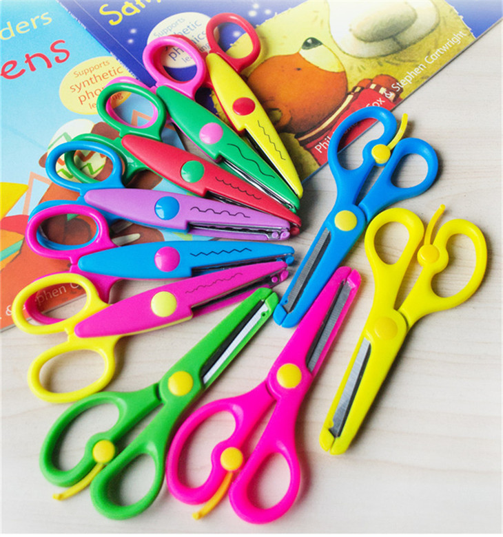 6 Assorted Colors Kids Smart Paper Edger Student Scissors for DIY Photos, Album, Decorative