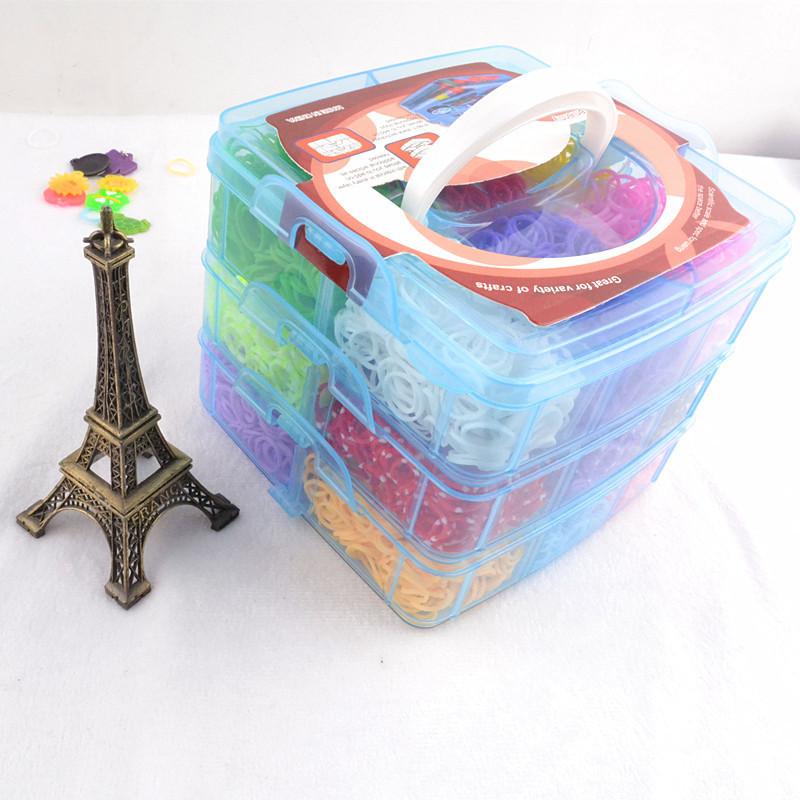 Красочные подарки 5400 шт. весело станок полосы box set составляют резинкой dIY станок прелести браслет силиконовый пополнение комплекта