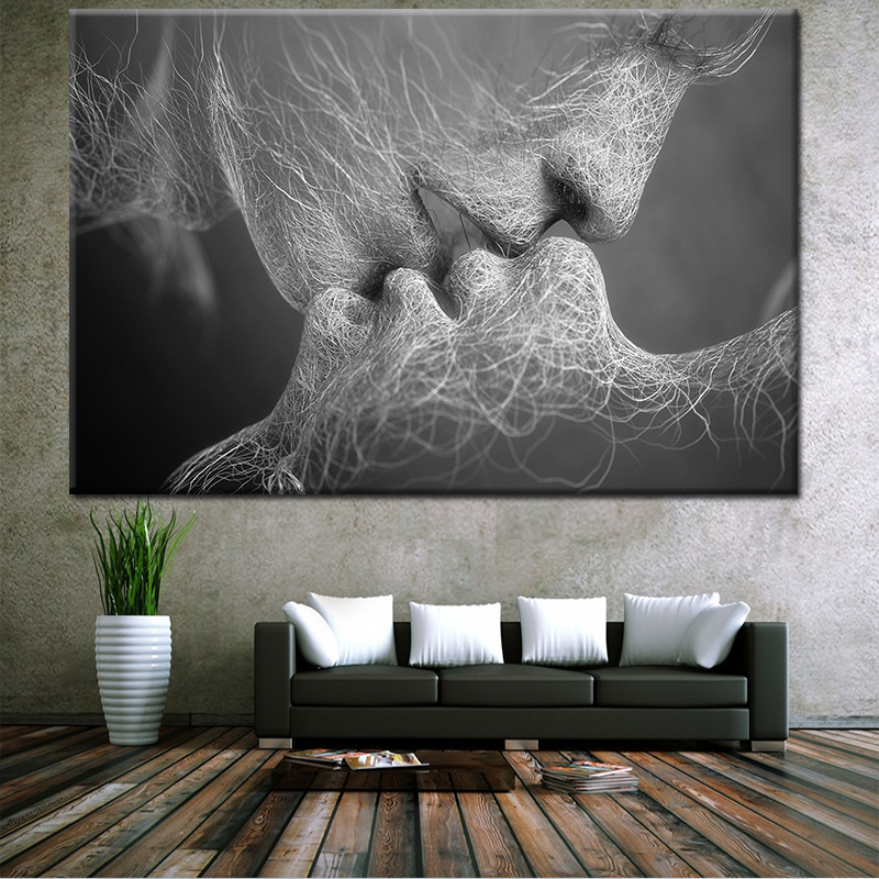 wholesale canvas wall art painting hot sell Kiss between lovers picture top fashion decorative painting for livingroom