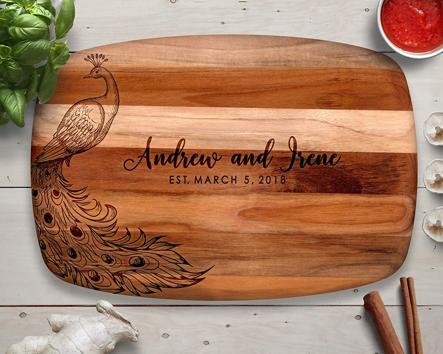 Peacock, Peacock Wedding, Personalized Cutting Board, Teak Cutting Board, Peacock Decor, Custom Cutting Board, Wood Cutting Board, Teak Wood, Personalized Gift, Gift for Her, Gift for Wife, Mom Gifts