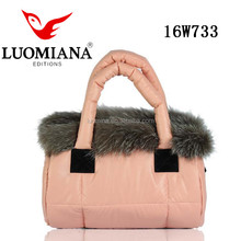 High Quality Waterproof Womens Puffer Shoulder Bag Winter Warm Down Cotton Pu Leather Tote Bag With Fur