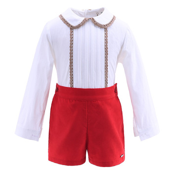 New Summer Red Lace Hem Collar Boutique Kids Christmas Outfit Boy Clothing set