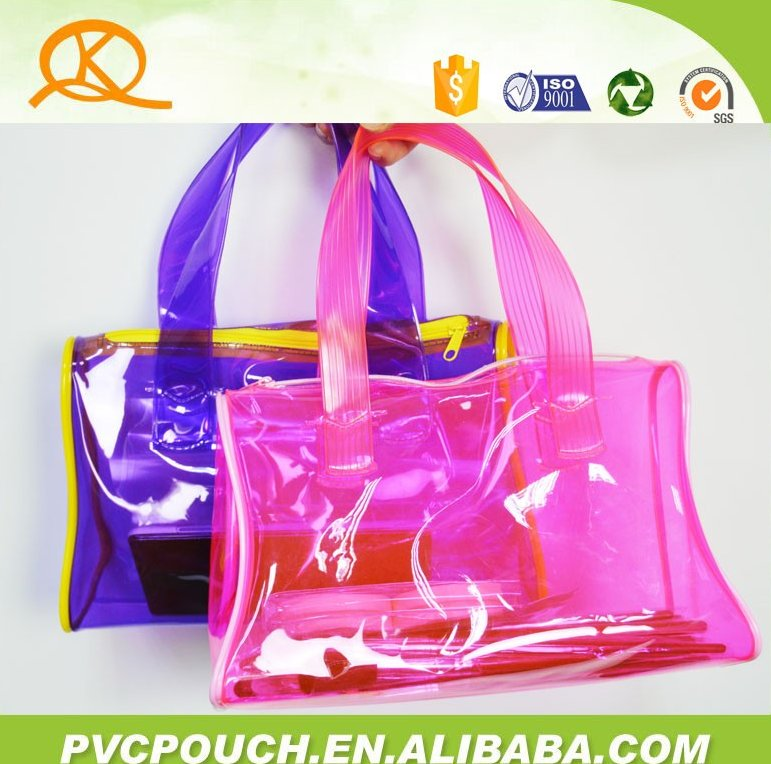 Alibaba China supplier hot sale customized clear eco zipper pvc woman hand bag, lady hand bag