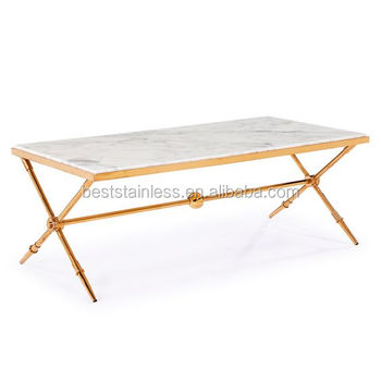 White Marble Top Rose Gold Stainless Steel Coffee Table Center