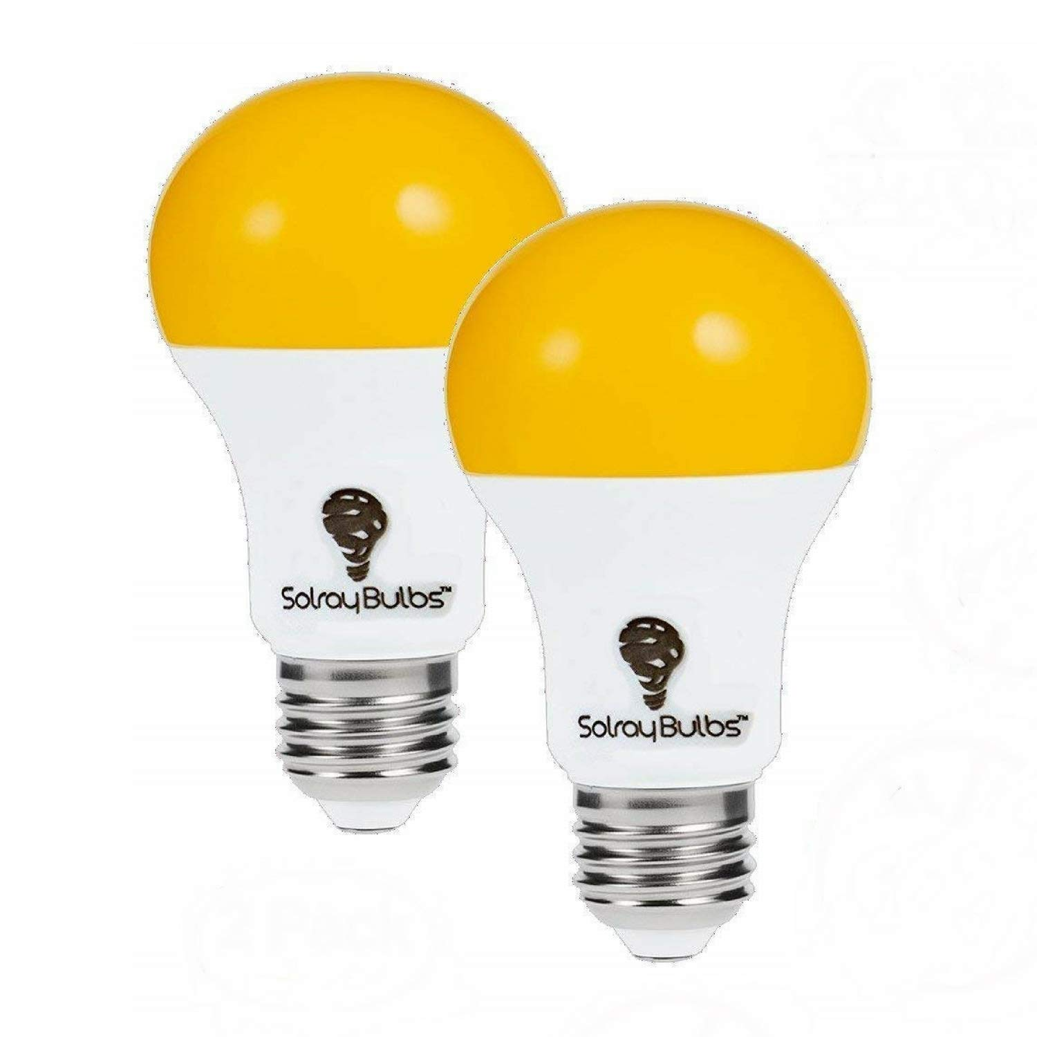 2 Pack LED Dusk to Dawn A19 Bug Light Bulbs, Yellow Bulb, Amber Light with Automatic Sensor Bulb, LED Porch Lights Security Outdoor Bulb, Auto on/Off, 2000K E26, 500 Lumens by Solray