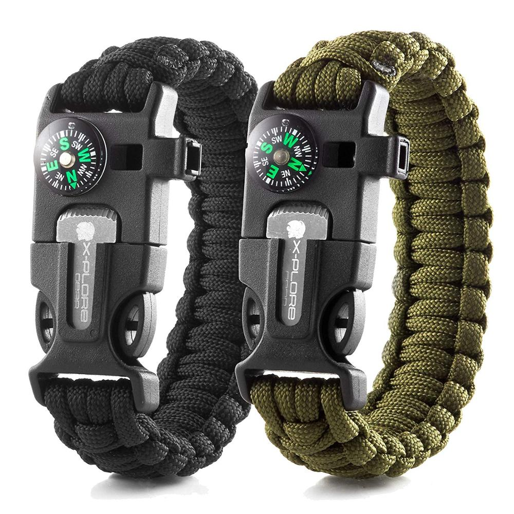 Wilderness Survival Gear kit- Protection Paracord Bracelets with Embedded Compass, Fire Starter, Emergency Knife & Whistle, Black;green