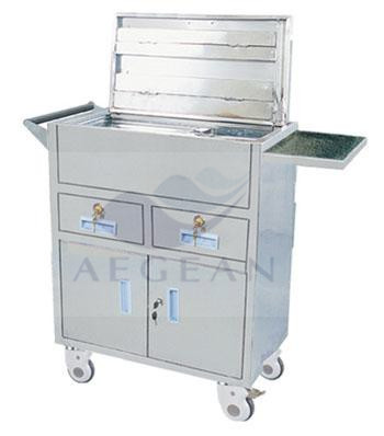 AG-ET019 two drawers hospital surgical room therapy movable stainless steel trolley cart