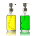 8 oz 250ml Clear Glass Stainless Steel Pump Top Bottles for Liquids Lotions Soaps Cleaners Aromatherapy