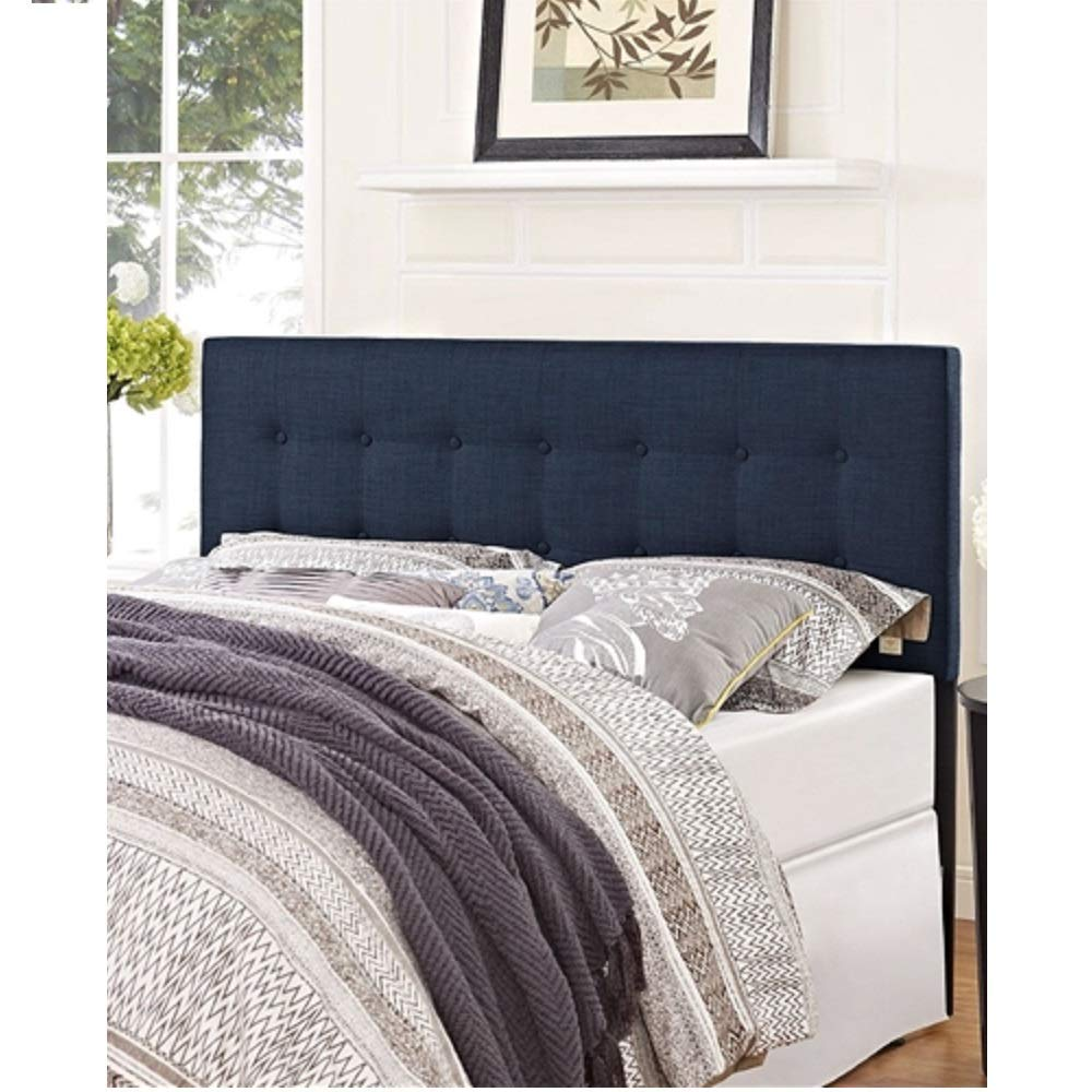 Full Size Navy Fabric Modern Upholstered Headboard Queen Bedroom Tufted Furniture MyEasyShopping