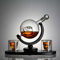 New Arrival Whiskey Decanter Skull Globe Set with Skull Cups