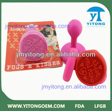 Handle aninmal pattern colorful decorative rubber cake embossing stamp