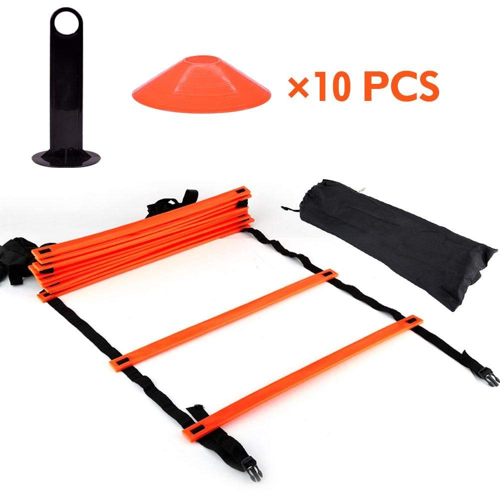 96cf12aae Get Quotations · Speed & Agility Training Kit, 19Ft Flat Ladder + 10pcs  Disc Cones Great Training Equipment