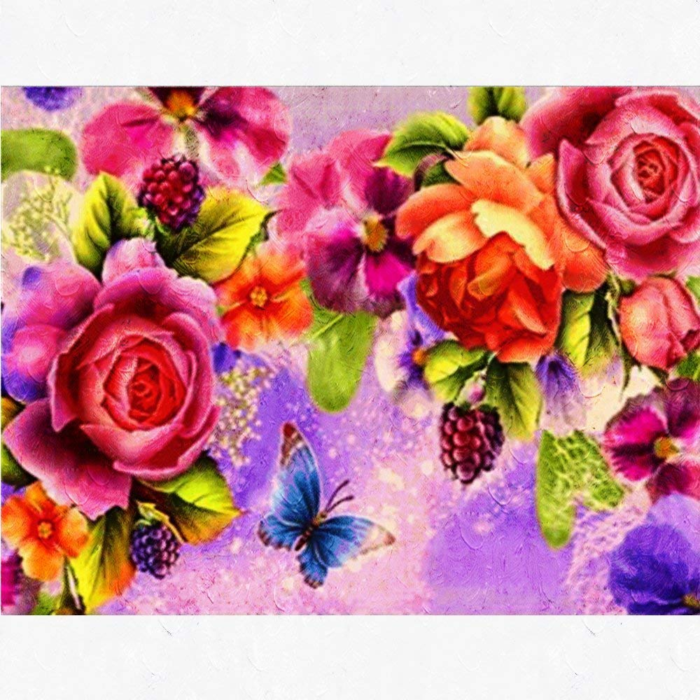 Diamond Painting for Adults by Number Kit Full Drill Round Beads DIY 5D Embroidery Cross Stitch Supply Arts Craft Canvas Wall Decor (Canvas Size: 12'' x 18''/30cm x 40cm) (Roses)
