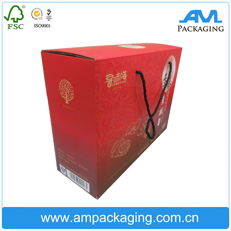 customize milky folding gift box with cotton rope handle with clear pvc window