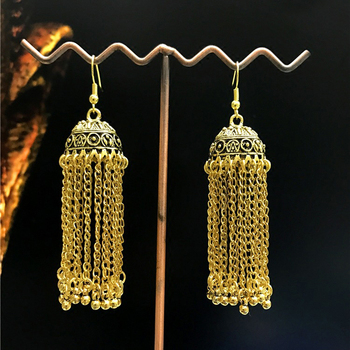 Wholesale New Designs Tassels Indian Style Gold Jhumka Hoop Earrings