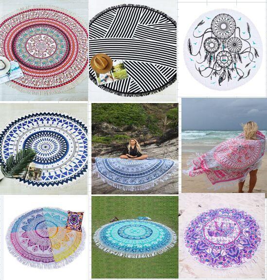 yoga mat hippie tapestry mandala round printed beach towel
