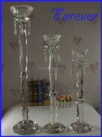 NEW! Gorgeous Crystal Doule Pillar Tall Glass Candle Holders / Crystal Candlesticks for wedding