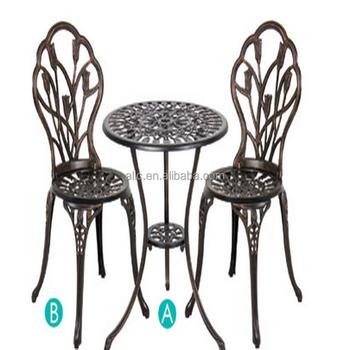 Cast Aluminum Outdoor Patio Furniture Tulip 3 Piece Bistro Set