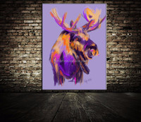 purple romantic big and long antenna sheep 100% pure hand-painted 100% handmade decoration oil painting in canvas