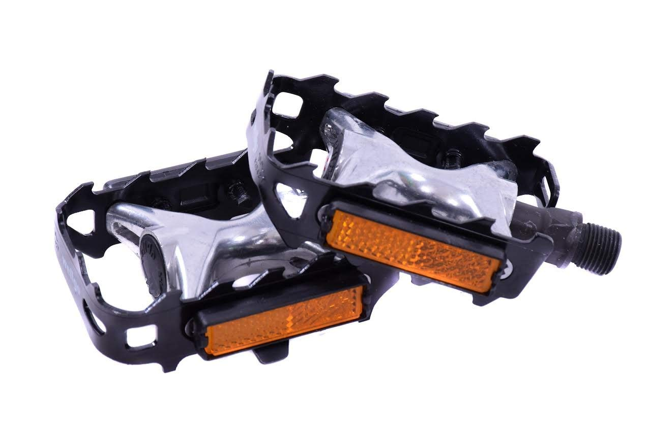 BLACK 'WELLGO' 9/16 MTB, ROAD RACE BIKE ALLOY CAGE PEDALS by Wellgo