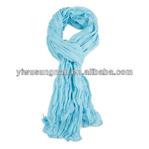 Mixed cotton solid color scrunched scarf