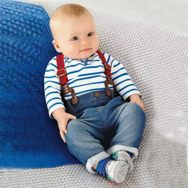 Baby Boy Long Sleeve T shirt Jeans Bib Pants Overall Outfits Clothes Set 2 Pcs 3M