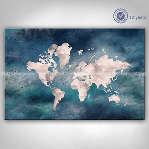 World Map Hand Painting Art On Canvas