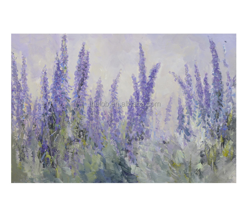Hand Painted Delphinium Field Painting Art Modern